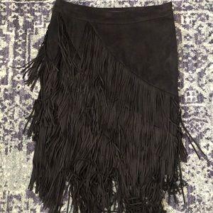 Fringe black suede skirt!